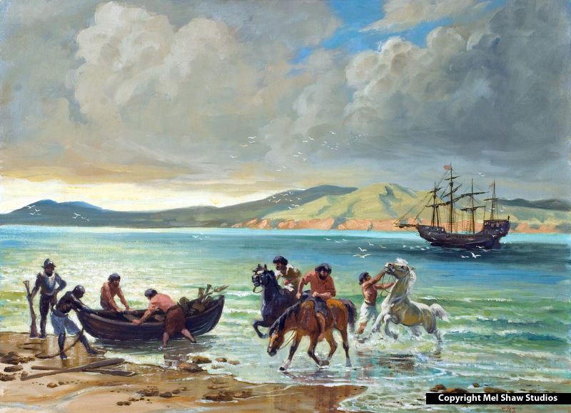 Cabrillo Landing With the Horses